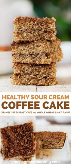 Healthy Sour Cream Coffee Cake is a perfectly moist and crumbly cake for breakfast with whole wheat. #breakfast #healthybreakfast #coffeecake #healthybaking #wholewheat #cookingmadehealthy Healthy Yogurt, Healthy Baking, Healthy Eats, Breakfast Cake, Sweet Breakfast, Breakfast Recipes, Yummy Food, Delicious Recipes, Easy Recipes