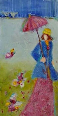 Printemps by Genevieve Pfeiffer Whimsical, Drawings, Artist, Painting, Spring, Artists, Painting Art, Sketches, Paintings