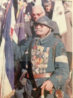 French WWI Veteran Pierre Recobre (1889-1983) at a ceremony in the early 1980's…
