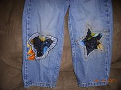 Hand-sewn patches for boys jeans