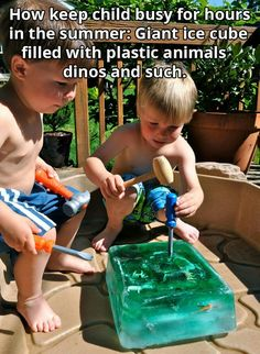 Giant ice cube projects for kids, diy for kids, crafts for kids, kids Kids Crafts, Craft Activities For Kids, Projects For Kids, Indoor Activities, Summer Crafts, Activities For Babysitting, Outside Kid Activities, Outdoor Toddler Activities, Activities For Babies Under One
