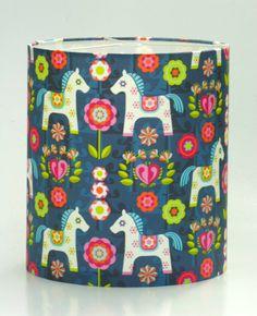 "Beautiful ""Painted Ponies"" Scandinavian Lampshade   www.boldlampshades.co.nz  bold fabric drum lampshades custom made"
