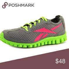 Reebok Realflex Sneakers Worn once, excellent condition. Lightweight athletic sneakers, gray, green and pink. Padded insole, breathable mesh-type design. Pics of actual sneakers to follow. Reebok Shoes Sneakers