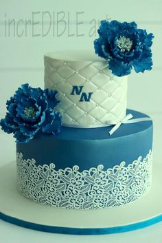 """Ripples""- a two tier wedding cake - Cake by Rumana Jaseel"