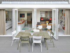 Ensemble de terrasse Luxembourg, chaises et table 100x207cm couleur Savane et Blanc Coton