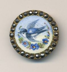 antique button, hand painted porcelain.