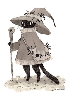 Inktober day 18, A wizard cat by Heikala Illustrates