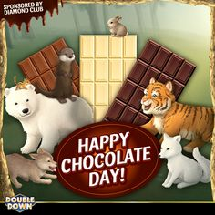 Happy Chocolate Day! Diamond Club wants to bring you a special treat today to celebrate, so enjoy 250,000 FREE chips. They're extra sweet! Just tap the Pinned Link, or use code DHNJPW Happy Chocolate Day, Doubledown Casino, Cash Prize, Hot Fudge, Chips, Snoopy, Teddy Bear, Coding, Club
