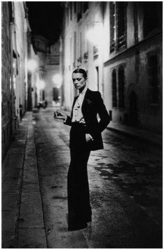 "Helmut Newton 1975 ""The thing about a tuxedo is that it is virile and feminine at the same time.""—Catherine Deneuve"