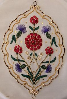 Goldwork embroidery patterns and designs, as well as other forms of embroidery including stumpwork and surface embroidery plus lots more textile related goodies. Hand Work Embroidery, Gold Embroidery, Crewel Embroidery, Hand Embroidery Designs, Embroidery Patterns, T-shirt Broderie, Broderie Simple, Gold Work, Wool Applique