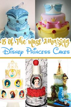 Disney Princess Cakes - These amazing Disney cakes are perfect for a princess party! From a Rapunzel tower cake to Ariel under the sea birthday cakes for girls don't get much magical than these! Rapunzel Birthday Cake, Rapunzel Cake, Disney Birthday, Birthday Cake Girls, Birthday Cakes, Birthday Ideas, Princess Dress Cake, Princess Cakes, Disney Princess Food