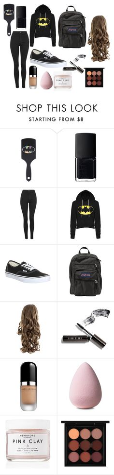 """""""Girly batman"""" by kayleighmw on Polyvore featuring NARS Cosmetics, Topshop, Vans, JanSport, Bobbi Brown Cosmetics, Marc Jacobs, Herbivore Botanicals and MAC Cosmetics"""