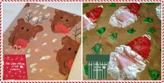 Potato Print Reindeer and Santa Christmas Wrapping Paper - Our Little House in the Country 2