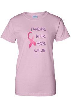 Women's Juniors T-Shirt I Wear For Kylie Breast Cancer Awareness Ribbon