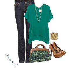 teal & tan, created by bonnaroosky on Polyvore