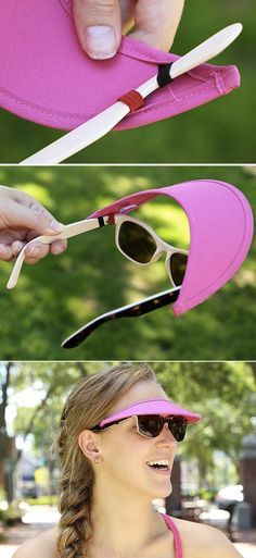 Vizini strapless visor has loops that slide onto the arms of your glasses or sunglasses.