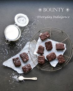 Homemade bounty with a dark and rich chocolate coating