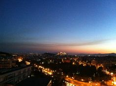 Nighttime view of the Acropolis from the Athens Hilton Acropolis, Night Time, Athens, Celestial, Sunset, Outdoor, Sunsets, Outdoors, Outdoor Games