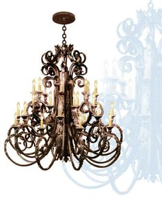Classic and Gothic Wrought Iron Chandeliers Modern Chandelier, Chandelier Lighting, Home Lighting, Lighting Design, Wrought Iron Chandeliers, Pretty Lights, Candelabra, Light Fixtures, Ceiling Lights