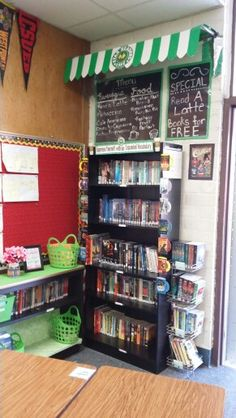 Book Cafe Classroom Library Middle School Classroom Environment, Classroom Setup, Classroom Design, Future Classroom, Classroom Organization, Reading Inventory, Class Library, Simple Projects, Coffee Theme