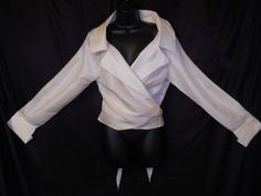 VTG 90s ALFRED ANGELO IVORY  SILK WRAP WEDDING PARTY BLOUSE/TOP/DRESS SHIRT #ebay classic!