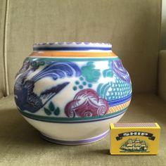 Poole Pottery, Carter Stabler Adams, Red Clay, Trellis Bluebird pattern c1922