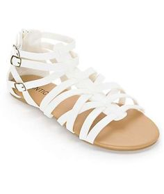 Check out these Antic White Gladiator Sandals from Zumies  A white strappy synthetic leather upper is constructed on top of a slim, flexible, padded footbed and felt lined heel cup for added comfort, and zipper detailing for easy slip-on and off.