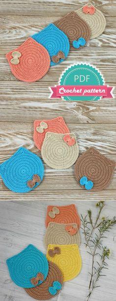 New ideas crochet cat coasters free pattern Chat Crochet, Crochet Diy, Crochet Amigurumi, Crochet Gifts, Crochet Ideas, Crochet Basket Pattern, Afghan Crochet Patterns, Crochet Coaster Pattern Free, Crochet Accessories Free Pattern