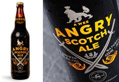Russell Brewing Co.'s Angry Scotch Ale - this label design is printed directly onto the bottle Craft Packaging, Beer Packaging, Craft Bier, Craft Beer Labels, Beer Label Design, Red Wine Glasses, Beer Brands, Branding, Bottle Design