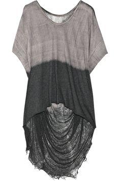 RAQUEL ALLEGRA  Distressed two-tone cotton top