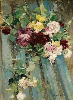 Giovanni Boldini    Late 19th - early 20th century    Still Life with Roses    (Source: stilllifequickheart)