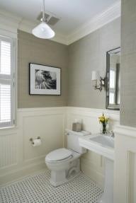 molding. light. high flat ceilings. floor tile (dark grout w0 white tiles. paint color.