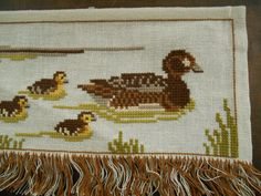 Vintage wall embroidery with ducks Cross stitch wall hanging Embroidered wall hanging Scandinavian needlework    Embroidered wall decor in cross