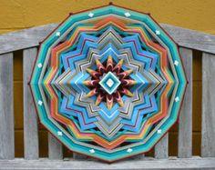 Ojo de Dios yarn mandala Summertime 18 inch by by JaysMandalas