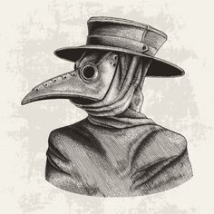 Plague Doctor Hand Drawing Vintage Engraving Isolate On Grunge Background Creepy Drawings, Dark Art Drawings, Pen Drawings, Steampunk Bird, Doctor Drawing, Mask Drawing, Arte Obscura, Scary Art, Plague Doctor