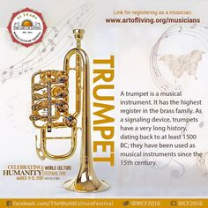 The #trumpet is a versatile #instrument that is present in a wide variety of #musical genres such as #classical, #jazz, #rock and more.   Join the trumpet group at #WCF2016  Register today: http://www.artofliving.org/in-en/world-culture-festival#/musician-registration