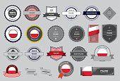 Hecho en Polonia, junta, bandera polaca (arte vectorial)