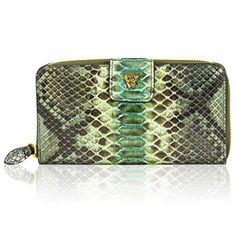 Ghibli Italian Designer Jade Green Python Leather Large Wallet Clutch Purse - Handbag