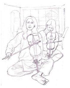 Drawing of Violinists.