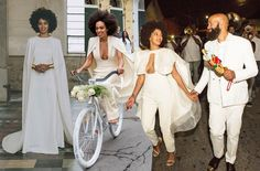 "Solange's trifecta of bridal looks from fall 2014 wedding. , instagram/@beyonce, For some brides it's hard to find the one – not your soul mate but that perfect wedding gown. So why settle when you can wear two or even three different wedding dresses throughout the day? ""There are so many fashion choices"