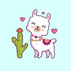 Alpaca Cartoon, Cartoon Llama, Funny Llama, Cute Cartoon, Happy Birthday Greeting Card, Valentine's Day Greeting Cards, Cute Alpaca, Baby Alpaca, Animal Drawings