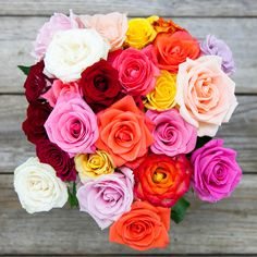 'Far Out...Man' is a vibrantly enthusiastic mix of multi- colored, sustainably grown roses! Our epic rose bouquet is bursting with colorful romance that is ready to impress at a click of a button. Our flowers ship direct from eco-friendly, sustainable farms on a Volcano to your recipient's door.