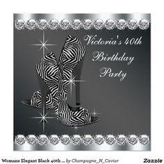 Womans Elegant Black 40th Birthday Party 5.25x5.25 Square Paper Invitation Card