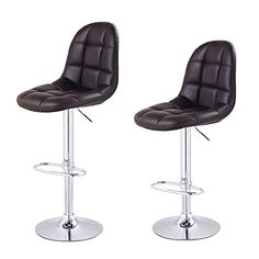 Adeco Brown Leatherette Adjustable Barstool Chair with Faux Tufting Chrome Finish Pedestal Base Set of two -- Read more  at the image link.Note:It is affiliate link to Amazon.