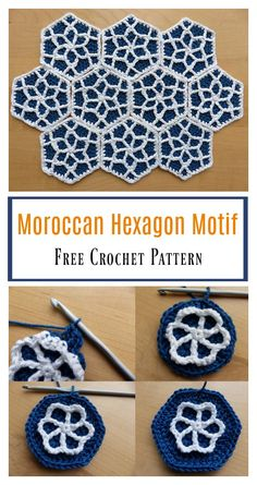 Crochet Squares Granny Design Moroccan Hexagon Motif Free Crochet Pattern - The beautiful Moroccan Hexagon Motif Free Crochet Pattern is easy to make with detailed photo instructions. It's done in brilliant color combinations. Crochet Afghans, Crochet Motifs, Crochet Blanket Patterns, Free Crochet, Crochet Crafts, Crochet Stitches, Crochet Projects, Knitting Patterns, Crochet Hexagon Blanket