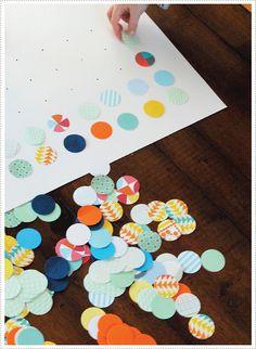 tableau a faire avec des feuilles de scrapbook  decouper en petits cercles