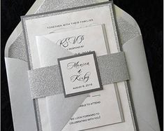 Silver glitter wedding Invitations with ribbon belt and initials tag, silver wedding invitations, glitter invites, wedding invites Elegant Wedding Invitations, Invitations Quinceanera, Wedding Menu Cards, Pocket Wedding Invitations, Vintage Wedding Invitations, Wedding Stationery, Diy Invitation, Pocket Invitation, Invitations
