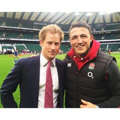 Prince Harry with rugby player Sam Burgess