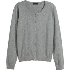 H&M Fine-knit cardigan (£5) ❤ liked on Polyvore featuring tops, cardigans, h&m, grey, sweaters, basics, grey marl, marled cardigan, grey cardigan and button top