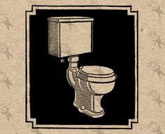 Vintage retro drawing image Toilet Lavatory WC Bathroom Instant Download Digital printable clipart graphic iron on transfer burlap HQ300dpi by UnoPrint on Etsy